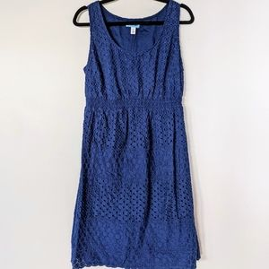 Maternity - Navy eyelet lace dress